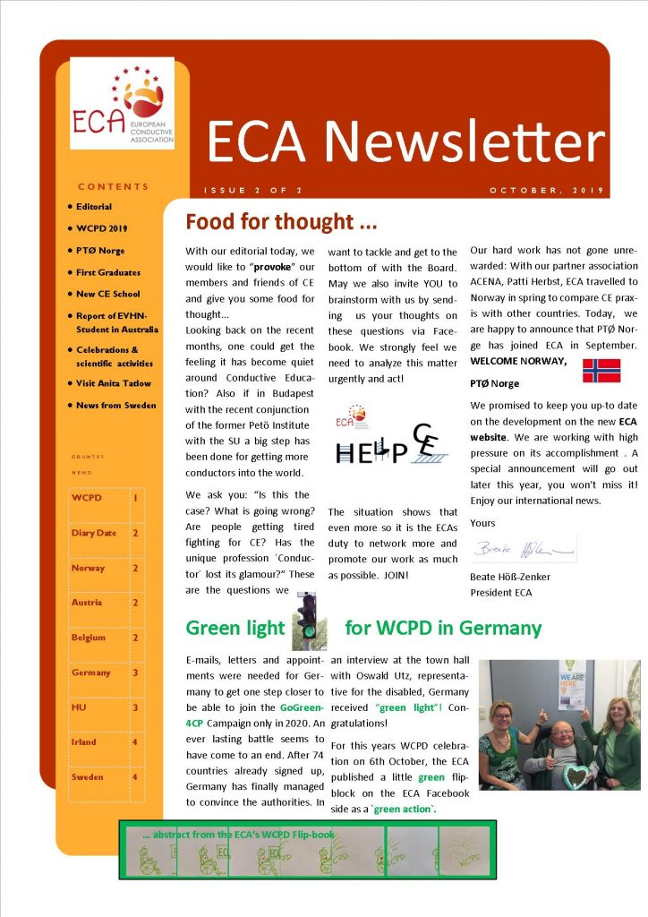 Showing cover of ECA Newsletter with text, logo and pictures of article