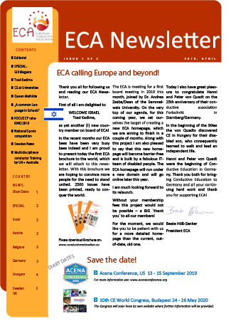 Newsletter cover page with ECA logo, articles and pictures