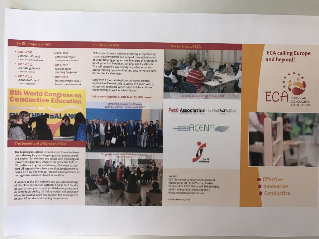 Second page of flyer showing text and 4 pictures. One picture of people at 8th World Congress on CE. One working group. One picture at Eu parliament. One picture showing students at lecture.