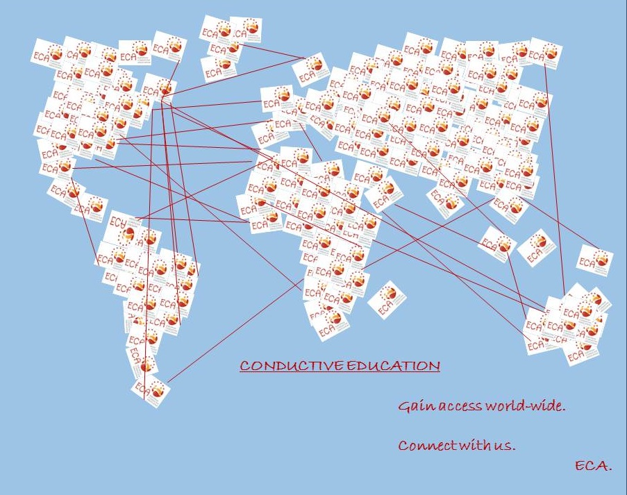 Light blue background. The world map made out of logos of ECA. The continents are being connected with red arrows. Text underneath: Conductive Education: Gain access world-wide. Connect with us. ECA.